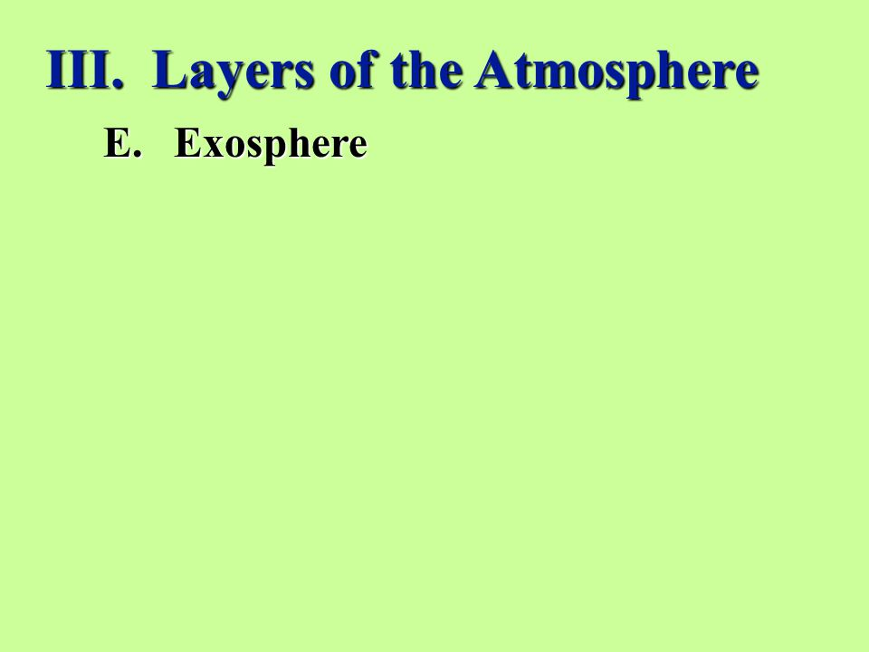 III. Layers of the Atmosphere E.Exosphere