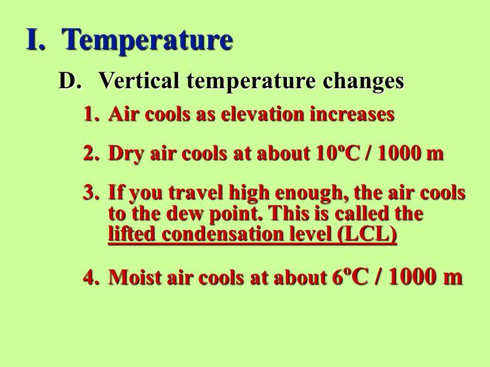D.Vertical temperature changes I.
