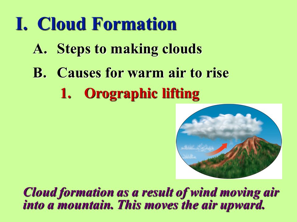 I. Cloud Formation 1.Orographic lifting A.Steps to making clouds B.Causes for warm air to rise Cloud formation as a result of wind moving air into a m