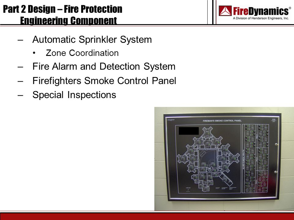 –Automatic Sprinkler System Zone Coordination –Fire Alarm and Detection System –Firefighters Smoke Control Panel –Special Inspections Part 2 Design –