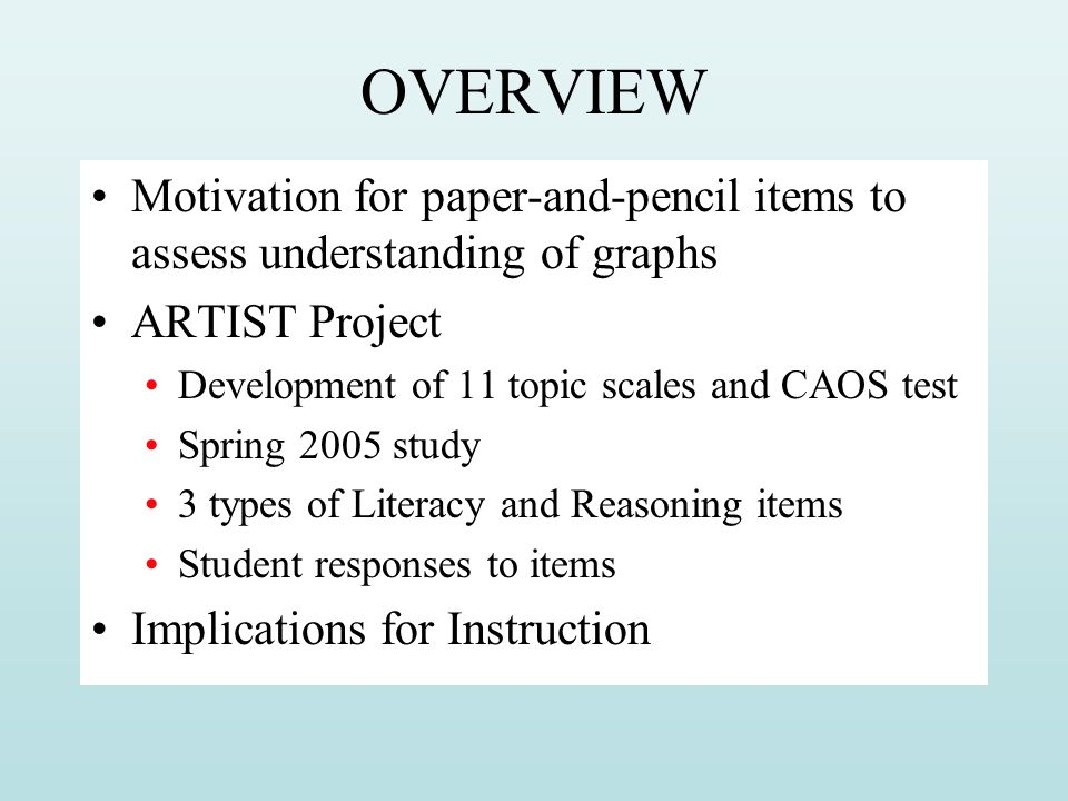OVERVIEW Motivation for paper-and-pencil items to assess understanding of graphs ARTIST Project Development of 11 topic scales and CAOS test Spring 20