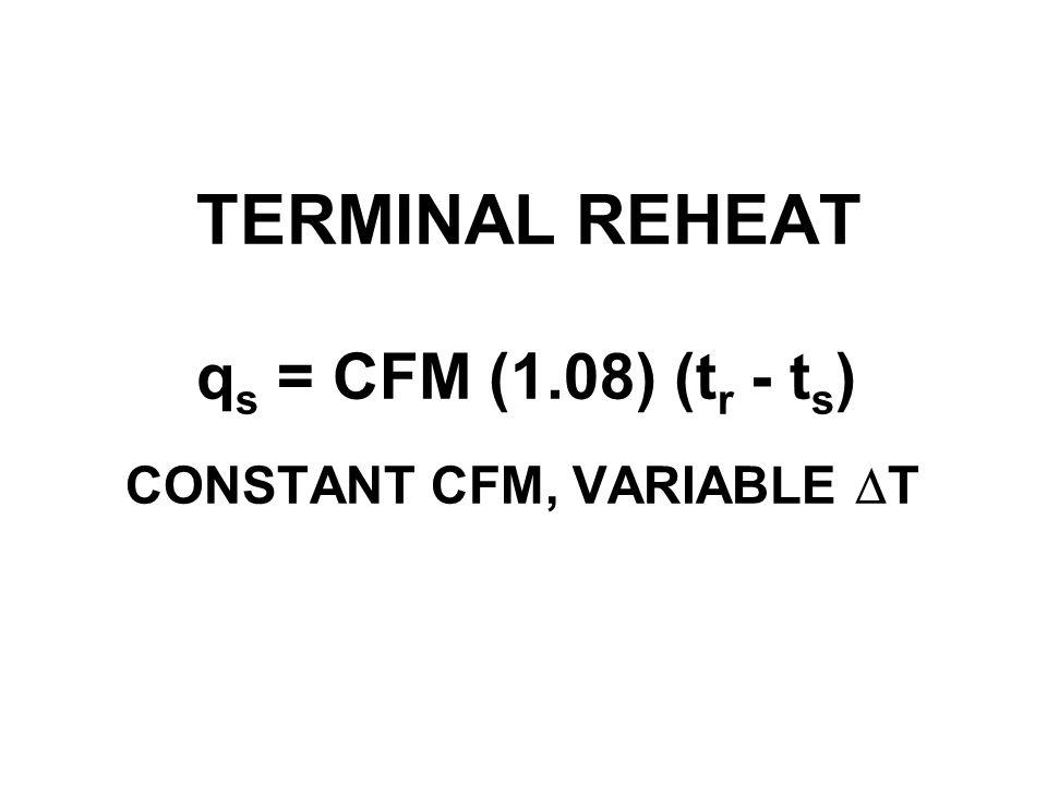 TERMINAL REHEAT q s = CFM (1.08) (t r - t s ) CONSTANT CFM, VARIABLE DT