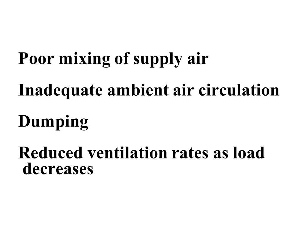 Poor mixing of supply air Inadequate ambient air circulation Dumping Reduced ventilation rates as load decreases