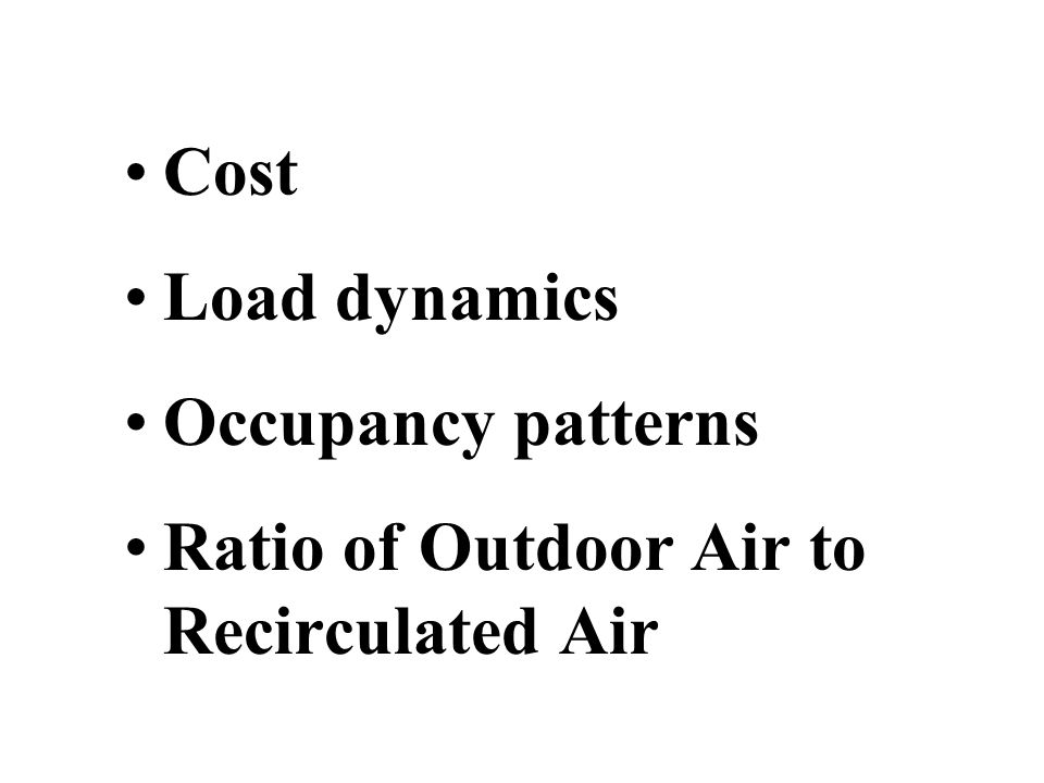 Cost Load dynamics Occupancy patterns Ratio of Outdoor Air to Recirculated Air