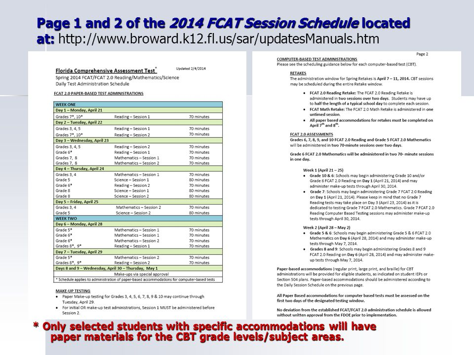 4 What's New for FCAT 2014 What's New for FCAT 2014 1.) Changes to the student Testing Rules Acknowledgement for students to sign or check off (CBT) 2.) Accommodations offered and used are to be marked on the administration record 3.) Test Administrator should print the CBT Test Administrator Quick Reference Guide available at www.FLAssessments.com/AdditionalResources 4.) TestHear and Math Retake Scripts are available at www.FLAssessments.com/SpringRMS 5.)When adding new students for retakes be careful to use the Alternate Passing Score Flag correctly Carefully review additional WHAT'S NEW and REMINDER items regarding FCAT in the first few pages of the 2014 Test Administration ManualCarefully review additional WHAT'S NEW and REMINDER items regarding FCAT in the first few pages of the 2014 Test Administration Manual