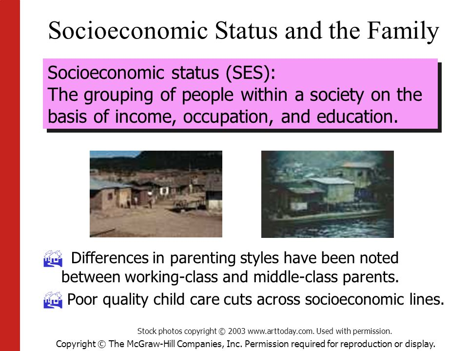 Copyright © The McGraw-Hill Companies, Inc. Permission required for reproduction or display. Socioeconomic Status and the Family Socioeconomic status