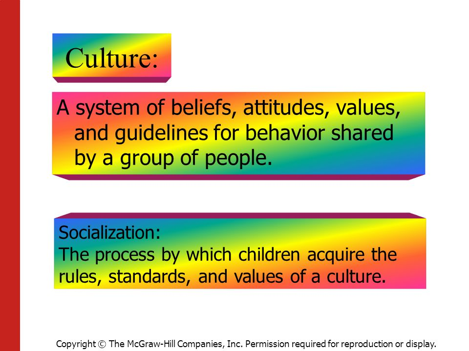 Copyright © The McGraw-Hill Companies, Inc. Permission required for reproduction or display. Culture: A system of beliefs, attitudes, values, and guid