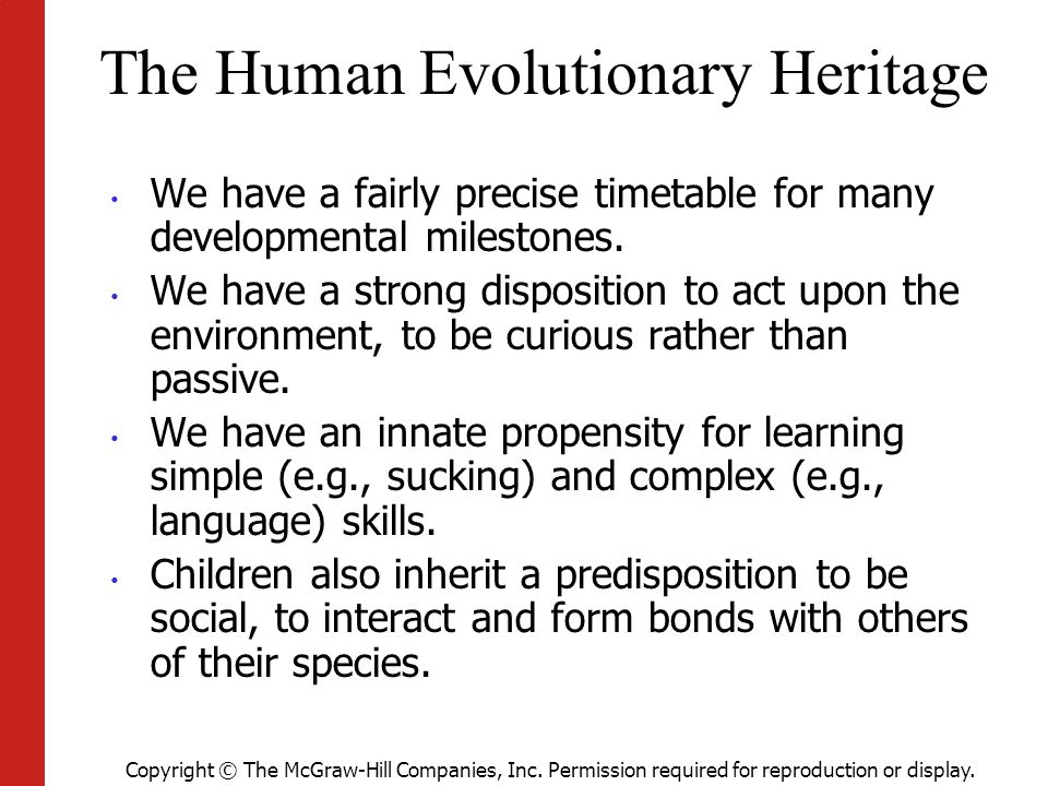 Copyright © The McGraw-Hill Companies, Inc. Permission required for reproduction or display. The Human Evolutionary Heritage We have a fairly precise