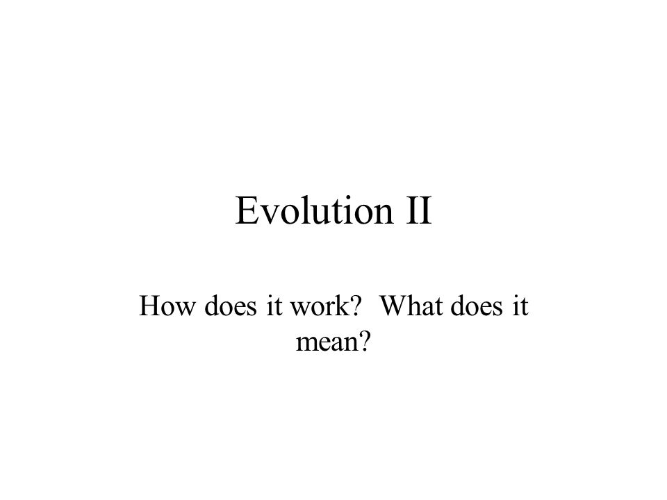 Evolution II How does it work? What does it mean?