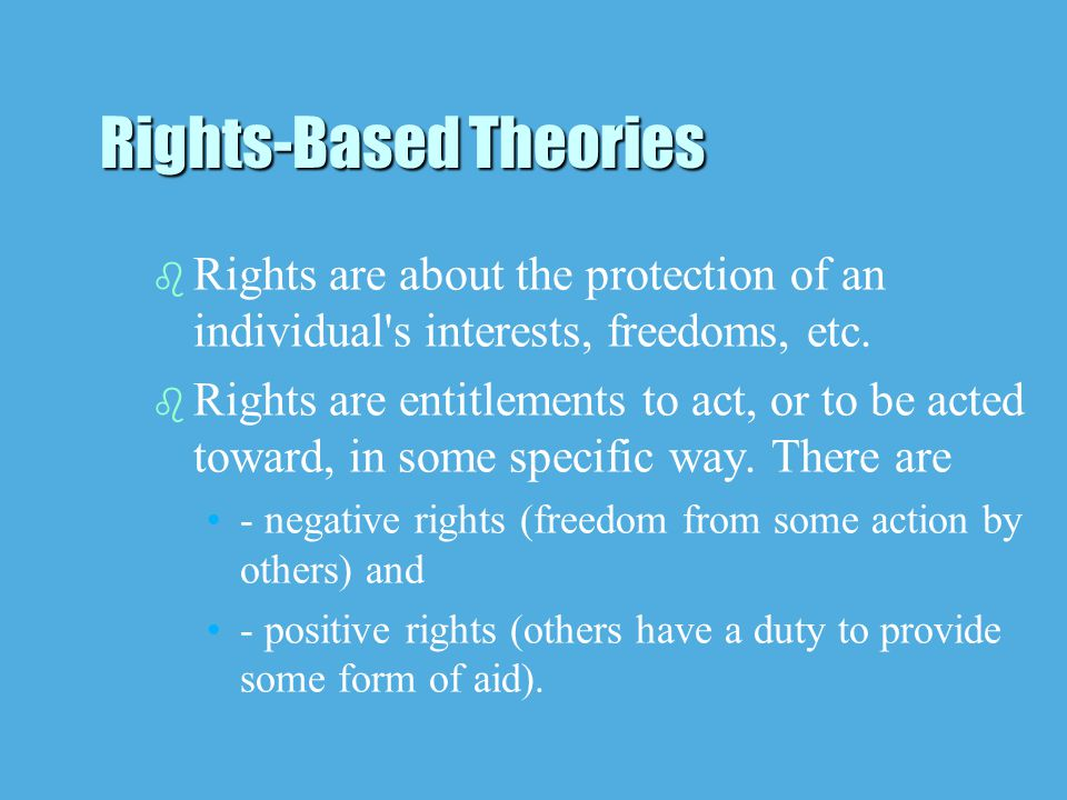 b b Rights are about the protection of an individual s interests, freedoms, etc.