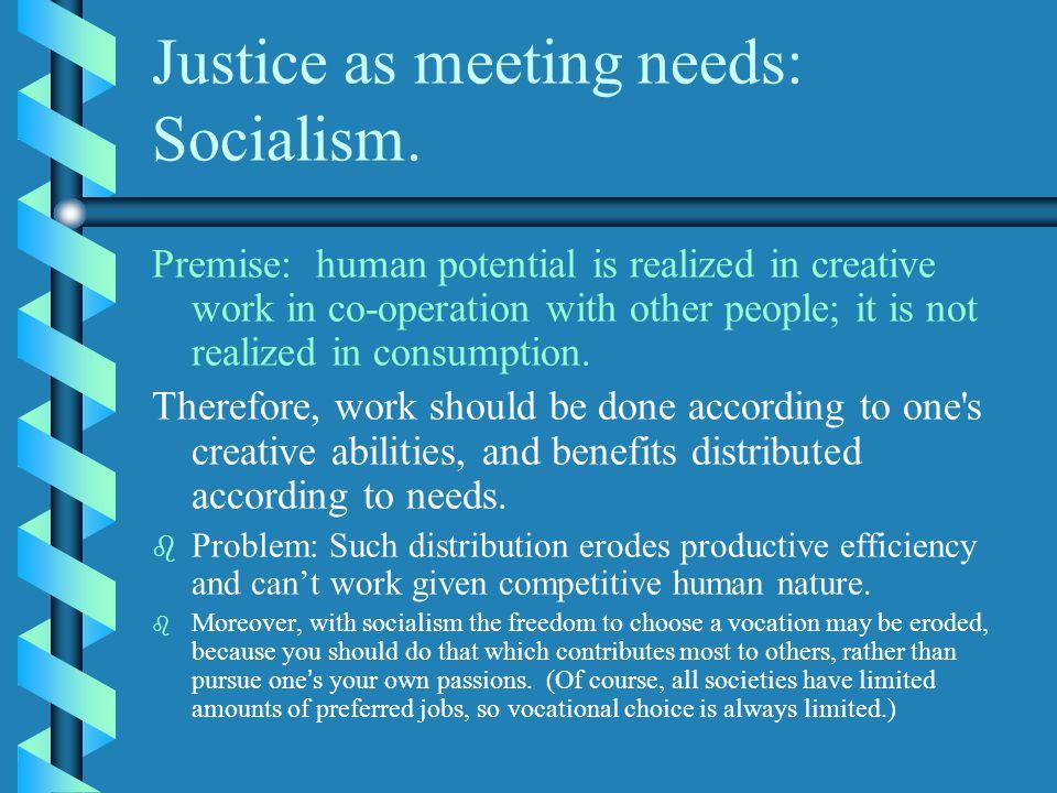 Justice as meeting needs: Socialism.