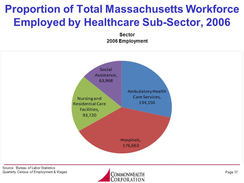 Page 17 Source: Bureau of Labor Statistics Quarterly Census of Employment & Wages Proportion of Total Massachusetts Workforce Employed by Healthcare Sub-Sector, 2006 Sector 2006 Employment