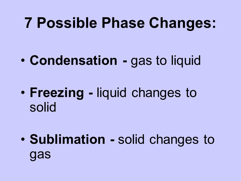 7 Possible Phase Changes: Condensation - gas to liquid Freezing - liquid changes to solid Sublimation - solid changes to gas