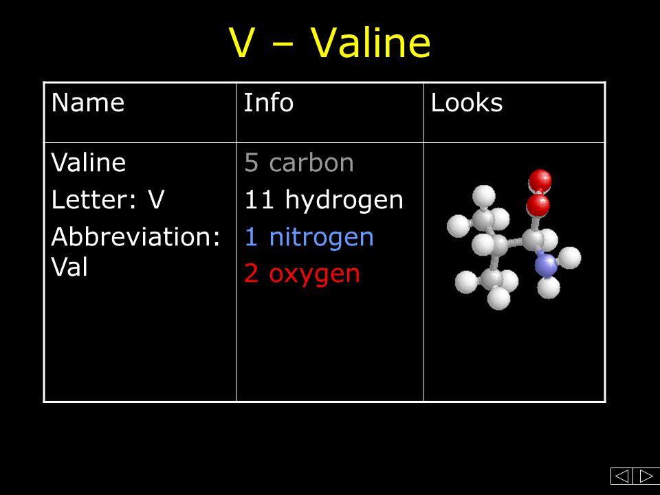 V – Valine NameInfoLooks Valine Letter: V Abbreviation: Val 5 carbon 11 hydrogen 1 nitrogen 2 oxygen