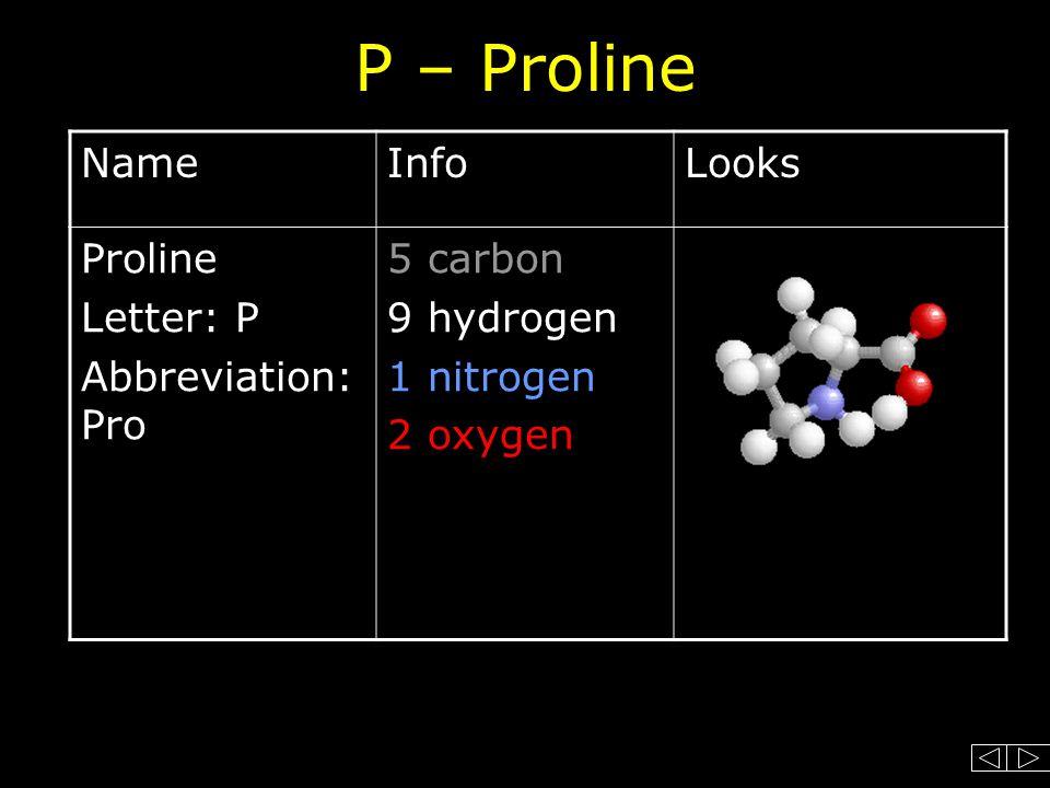P – Proline NameInfoLooks Proline Letter: P Abbreviation: Pro 5 carbon 9 hydrogen 1 nitrogen 2 oxygen