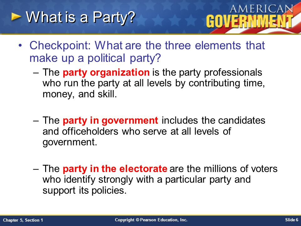 Copyright © Pearson Education, Inc.Slide 6 Chapter 5, Section 1 What is a Party? Checkpoint: What are the three elements that make up a political part