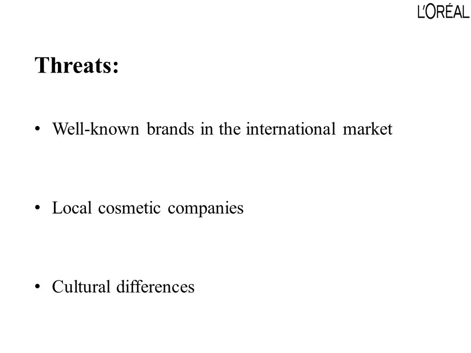 Threats: Well-known brands in the international market Local cosmetic companies Cultural differences