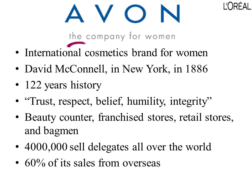 International cosmetics brand for women David McConnell, in New York, in 1886 122 years history Trust, respect, belief, humility, integrity Beauty counter, franchised stores, retail stores, and bagmen 4000,000 sell delegates all over the world 60% of its sales from overseas