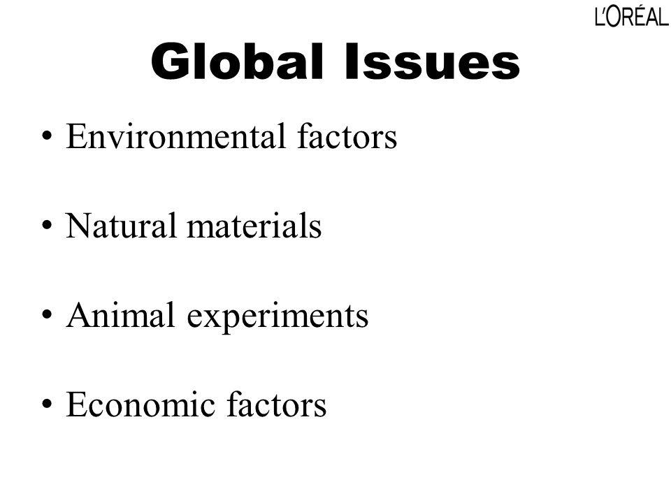 Global Issues Environmental factors Natural materials Animal experiments Economic factors