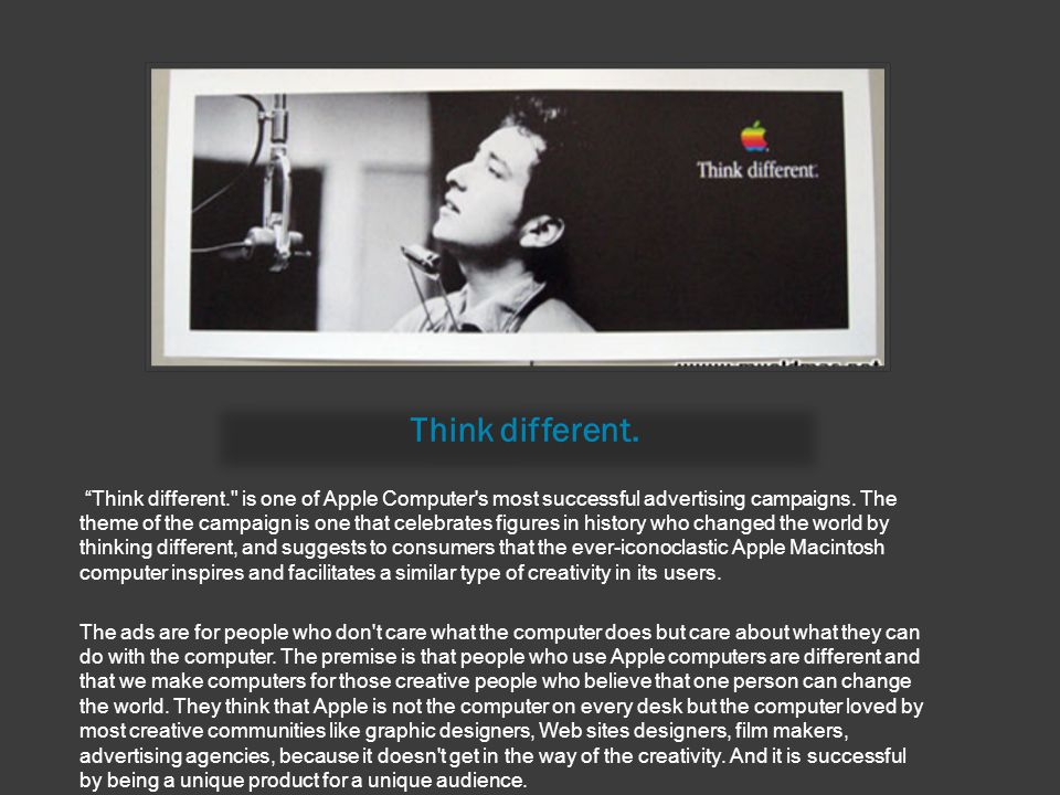 """Think different. """"Think different."""