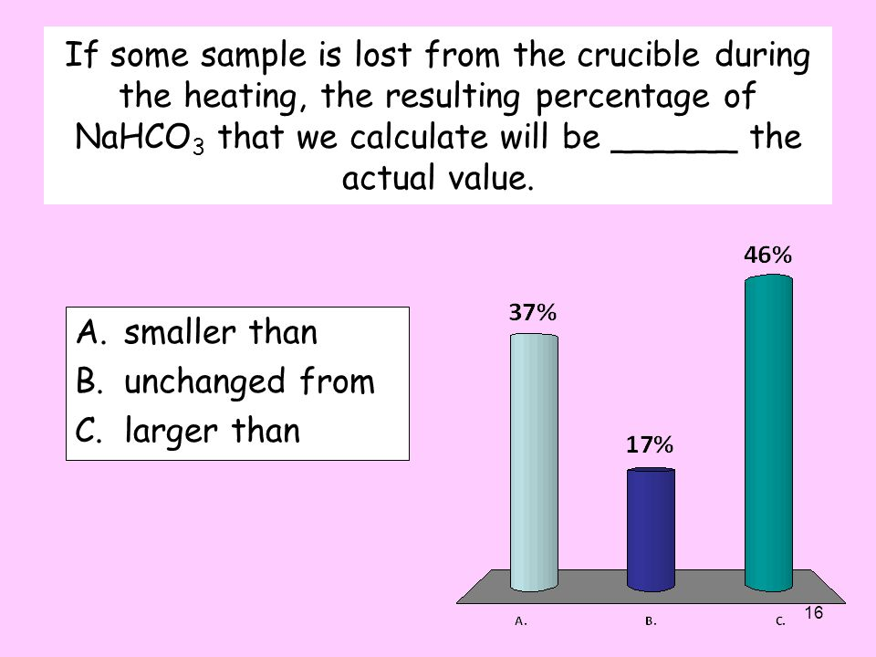 If some sample is lost from the crucible during the heating, the resulting percentage of NaHCO 3 that we calculate will be ______ the actual value.