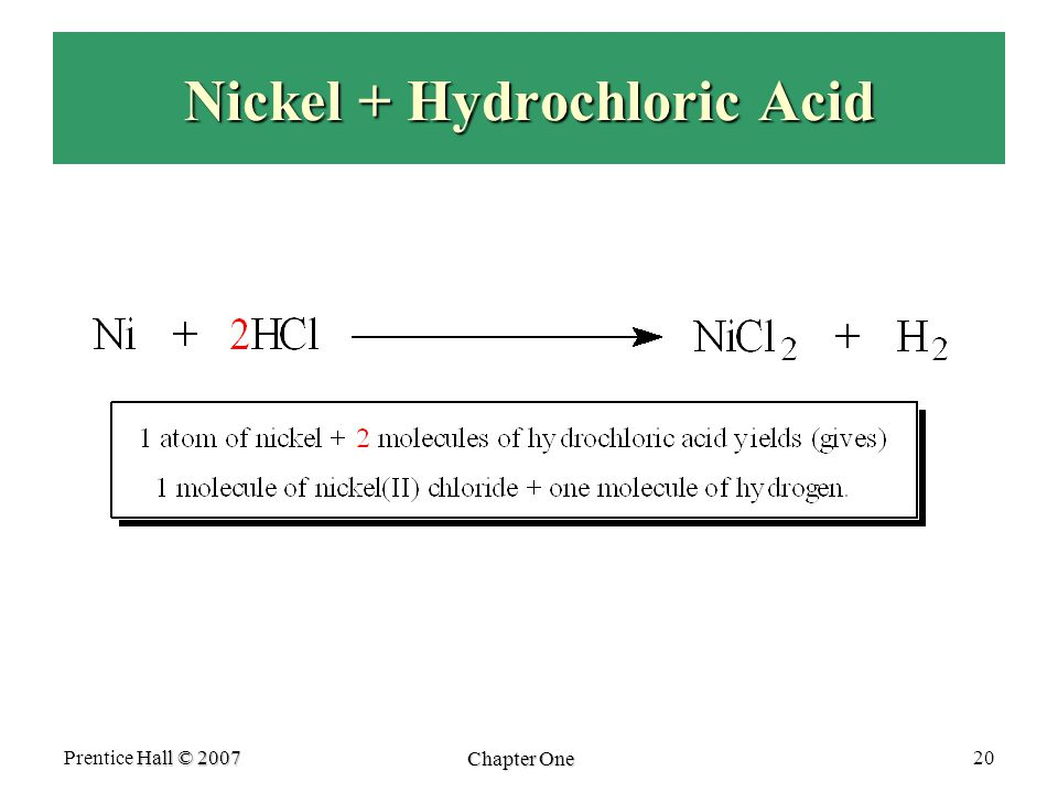 Nickel + Hydrochloric Acid Hall © 2007 Prentice Hall © 2007 Chapter One 20