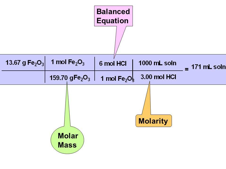 Molar Mass Balanced Equation Molarity