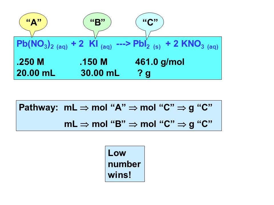Pb(NO 3 ) 2 (aq) + 2 KI (aq) ---> PbI 2 (s) + 2 KNO 3 (aq).250 M.150 M 461.0 g/mol 20.00 mL 30.00 mL .