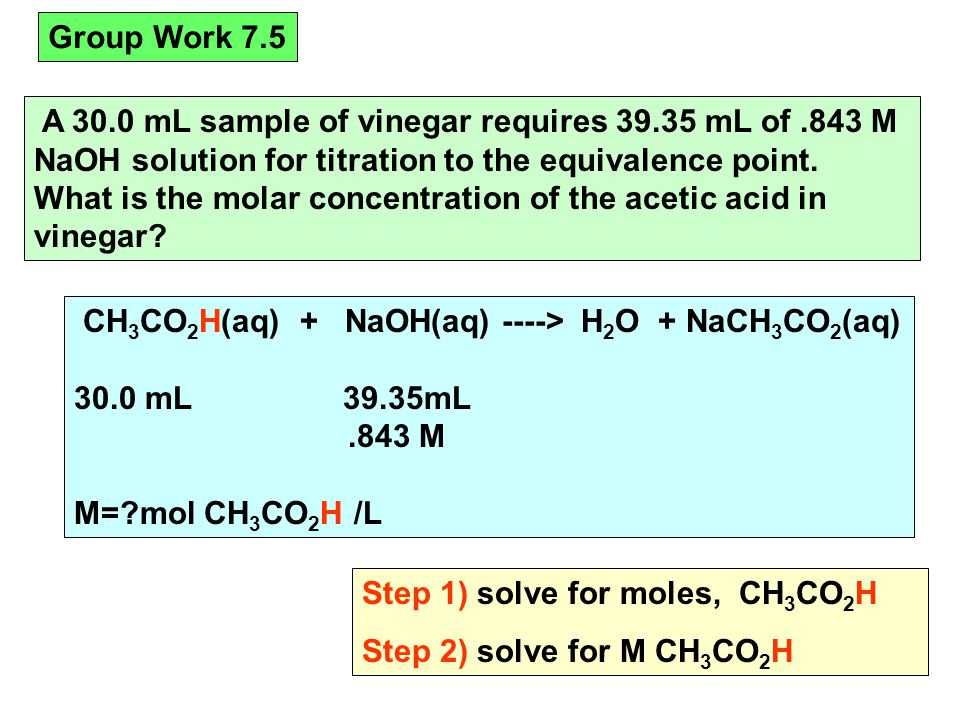 A 30.0 mL sample of vinegar requires 39.35 mL of.843 M NaOH solution for titration to the equivalence point.