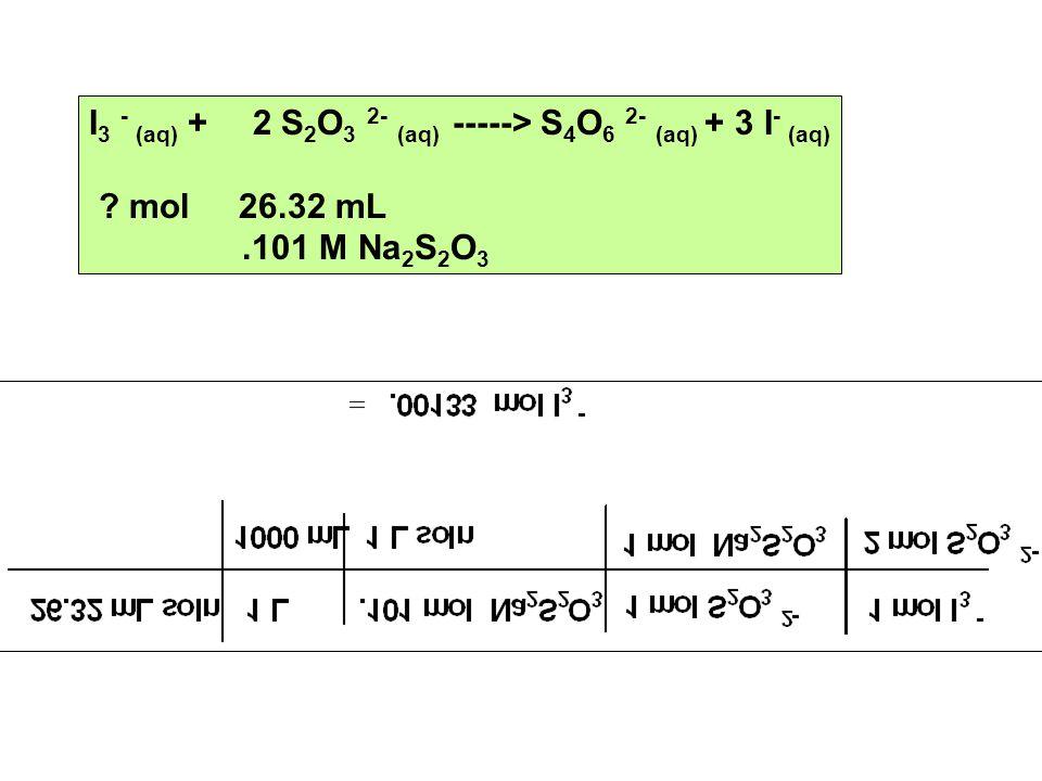 I 3 - (aq) + 2 S 2 O 3 2- (aq) -----> S 4 O 6 2- (aq) + 3 I - (aq) .