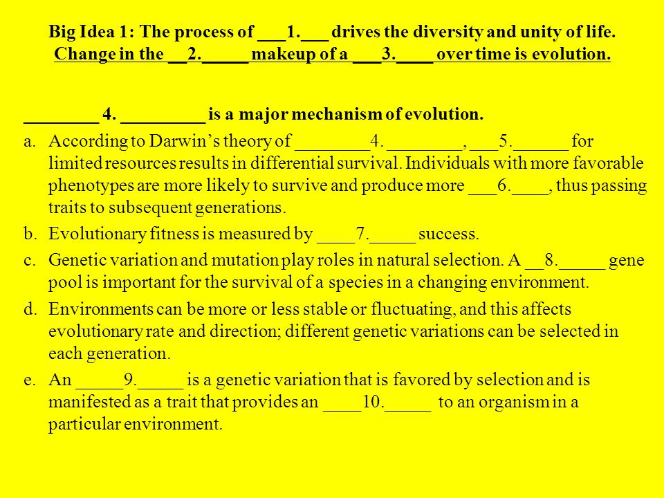 3 causes of variation: 1.Mutation 2.Recombination 3.Random fusion of gametes Superior variations that increase fitness are called adaptations.