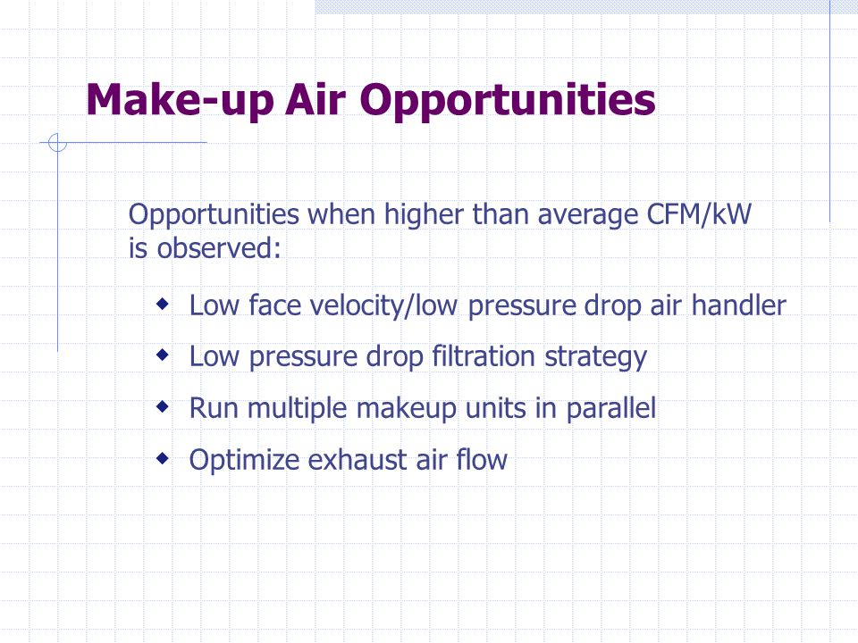 Make-up Air Opportunities Opportunities when higher than average CFM/kW is observed:  Low face velocity/low pressure drop air handler  Low pressure drop filtration strategy  Run multiple makeup units in parallel  Optimize exhaust air flow