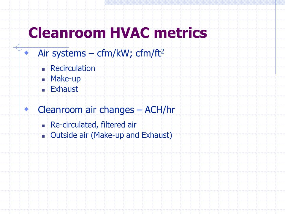 Cleanroom HVAC metrics  Air systems – cfm/kW; cfm/ft 2 Recirculation Make-up Exhaust  Cleanroom air changes – ACH/hr Re-circulated, filtered air Outside air (Make-up and Exhaust)