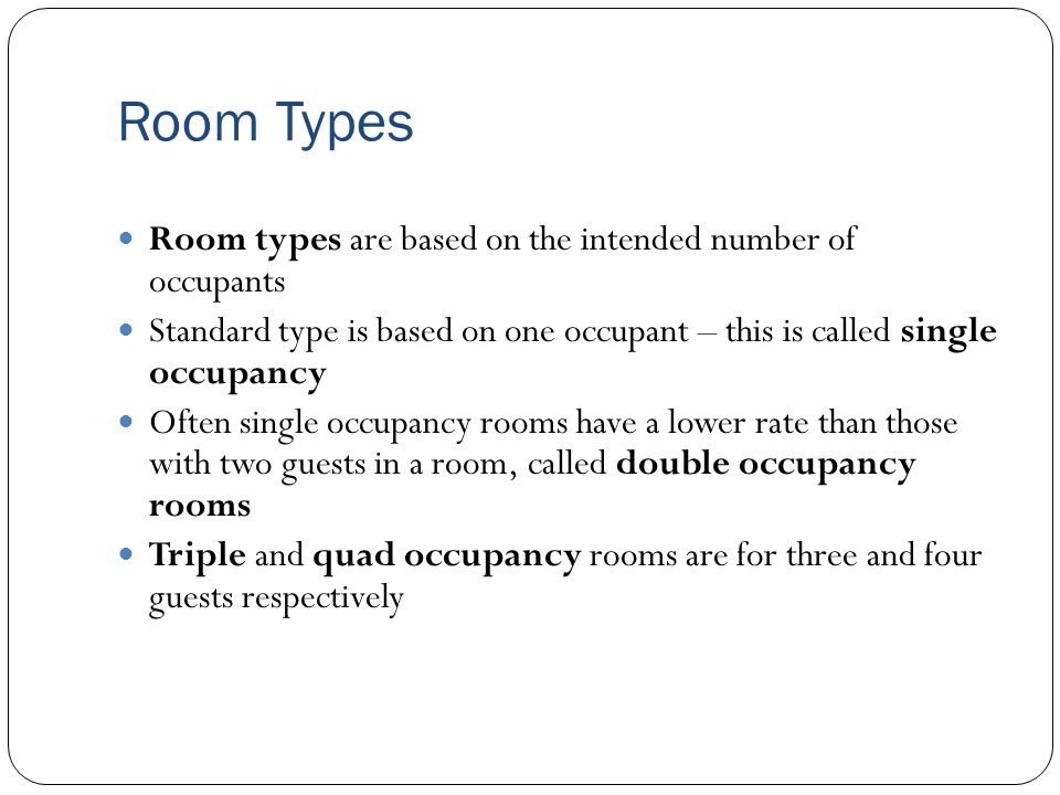 Room Configurations Room configurations characterise the physical make up of a guest room, therefore looking at differences in guest rooms within a particular hotel Room configurations are an important aspect of how a hotel will determine the sleeping room rate Offering guests an upgrade allows the hotel the potential for increased room revenue