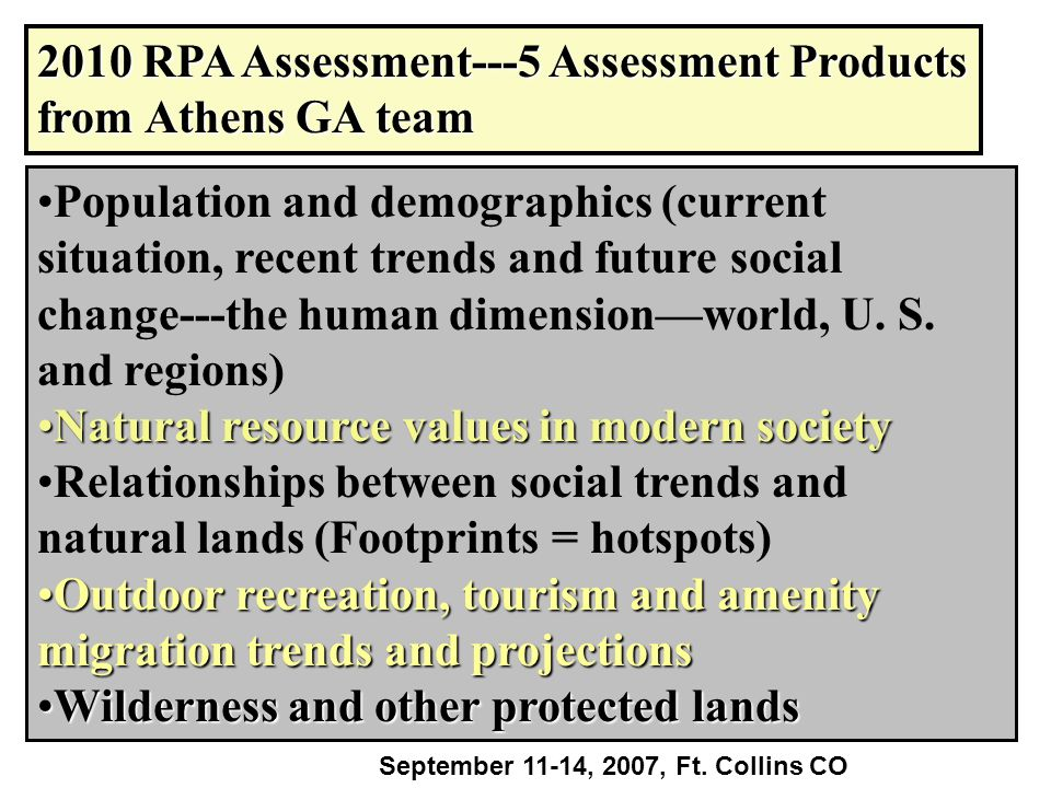 2010 RPA Assessment---5 Assessment Products from Athens GA team Population and demographics (current situation, recent trends and future social change---the human dimension—world, U.