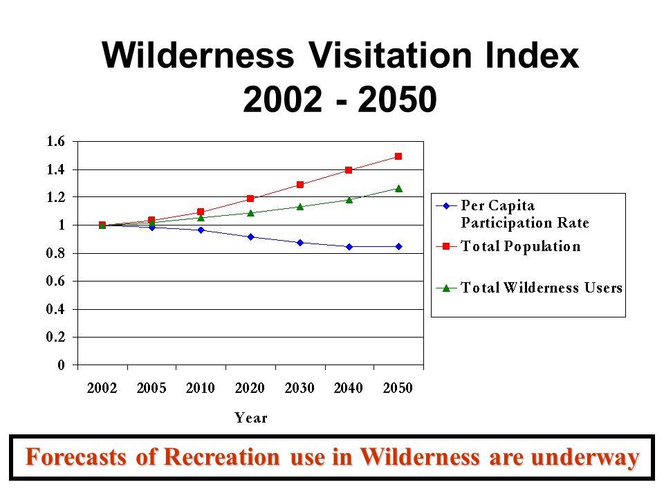 Wilderness Visitation Index 2002 - 2050 Forecasts of Recreation use in Wilderness are underway