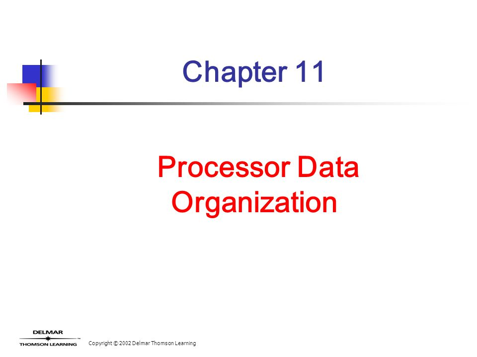 Copyright © 2002 Delmar Thomson Learning Chapter 11 Processor Data Organization