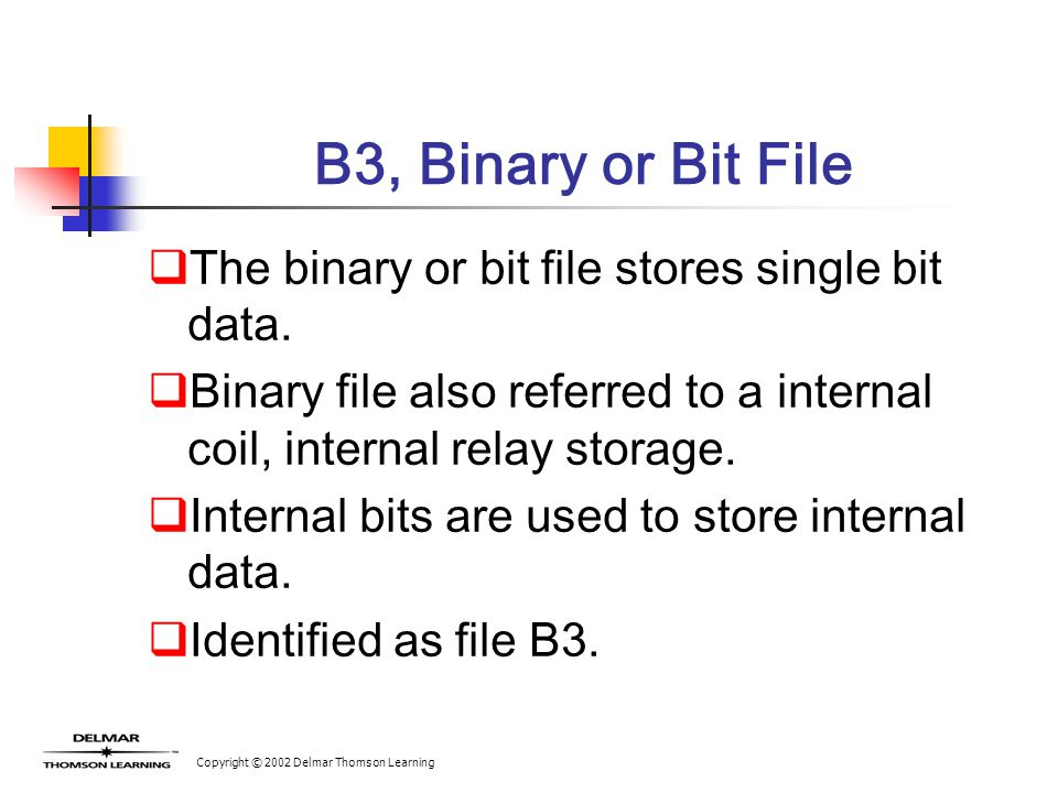 Copyright © 2002 Delmar Thomson Learning B3, Binary or Bit File  The binary or bit file stores single bit data.  Binary file also referred to a inte