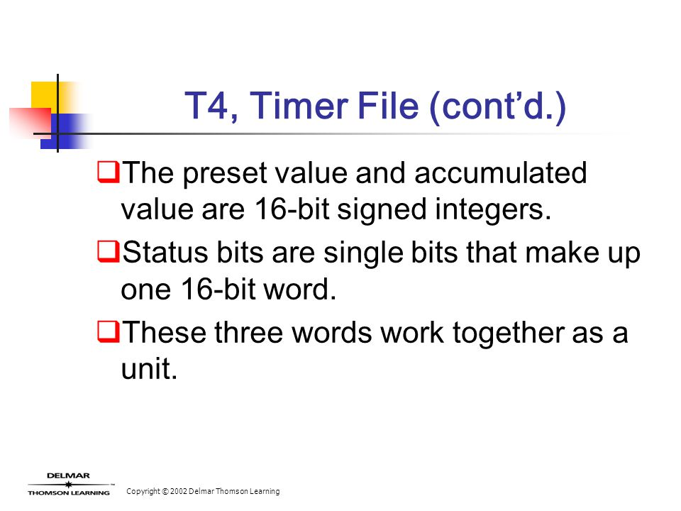 Copyright © 2002 Delmar Thomson Learning T4, Timer File (cont'd.)  The preset value and accumulated value are 16-bit signed integers.  Status bits a