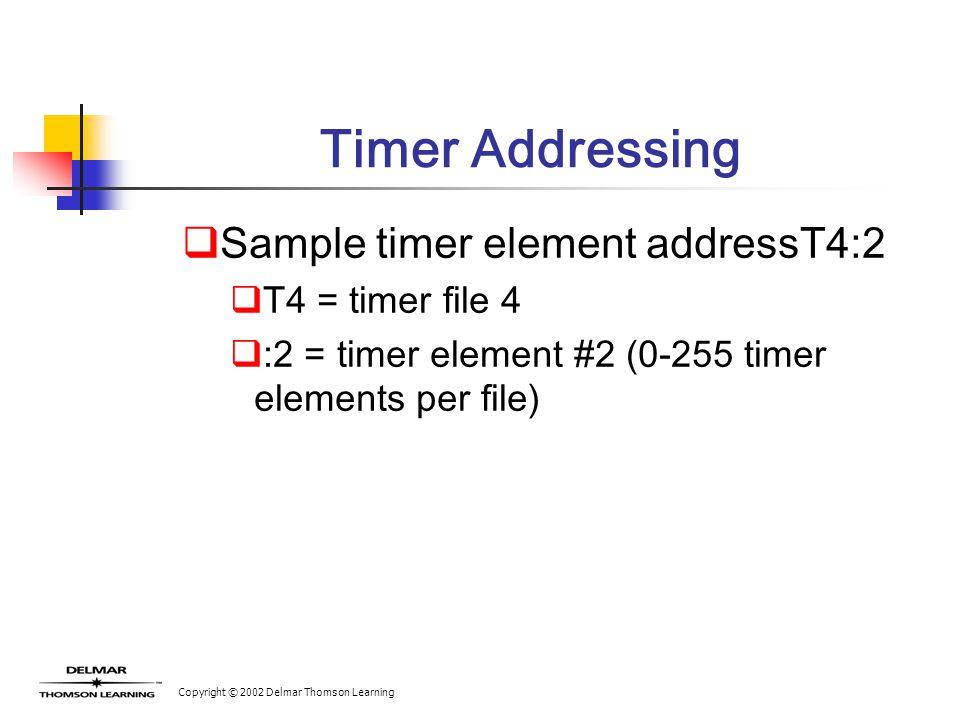 Copyright © 2002 Delmar Thomson Learning Timer Addressing  Sample timer element addressT4:2  T4 = timer file 4  :2 = timer element #2 (0-255 timer elements per file)
