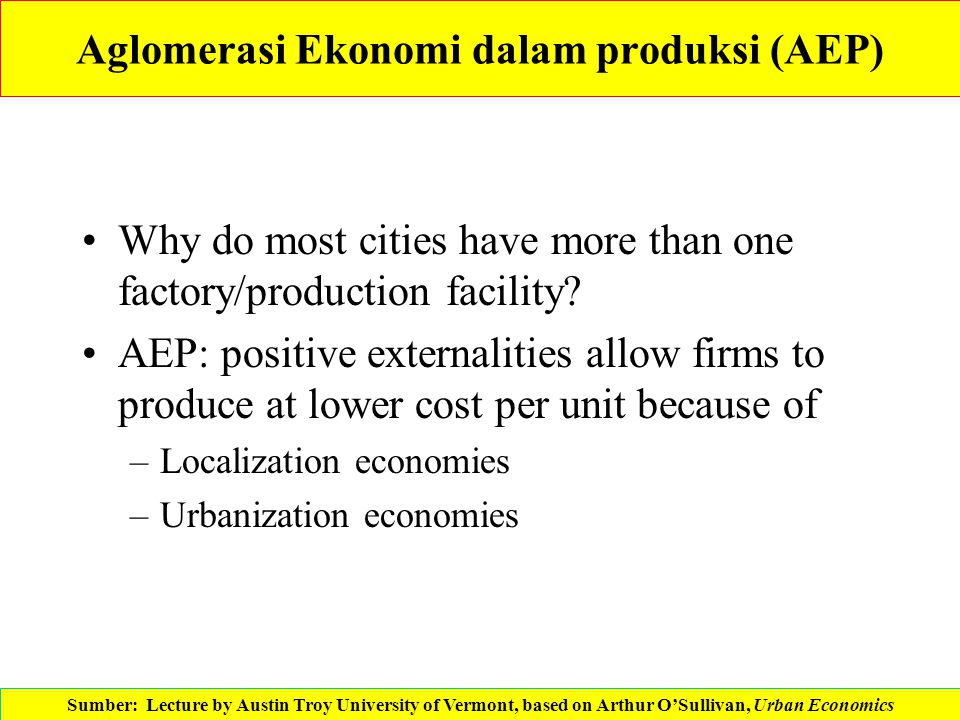 Aglomerasi Ekonomi dalam produksi (AEP) Why do most cities have more than one factory/production facility? AEP: positive externalities allow firms to
