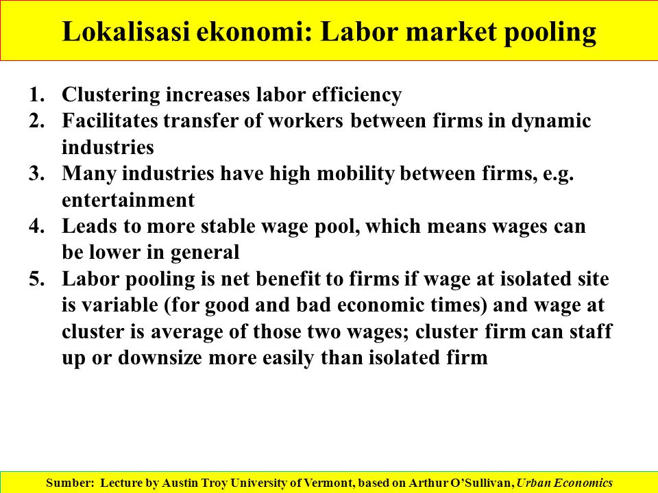 Lokalisasi ekonomi: Labor market pooling 1.Clustering increases labor efficiency 2.Facilitates transfer of workers between firms in dynamic industries