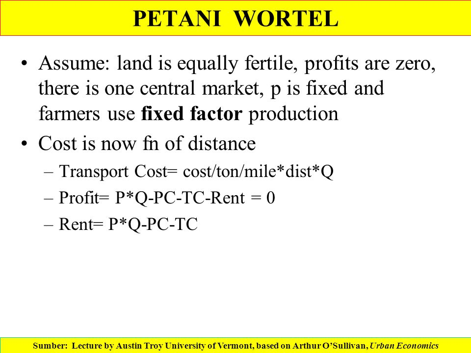PETANI WORTEL Assume: land is equally fertile, profits are zero, there is one central market, p is fixed and farmers use fixed factor production Cost