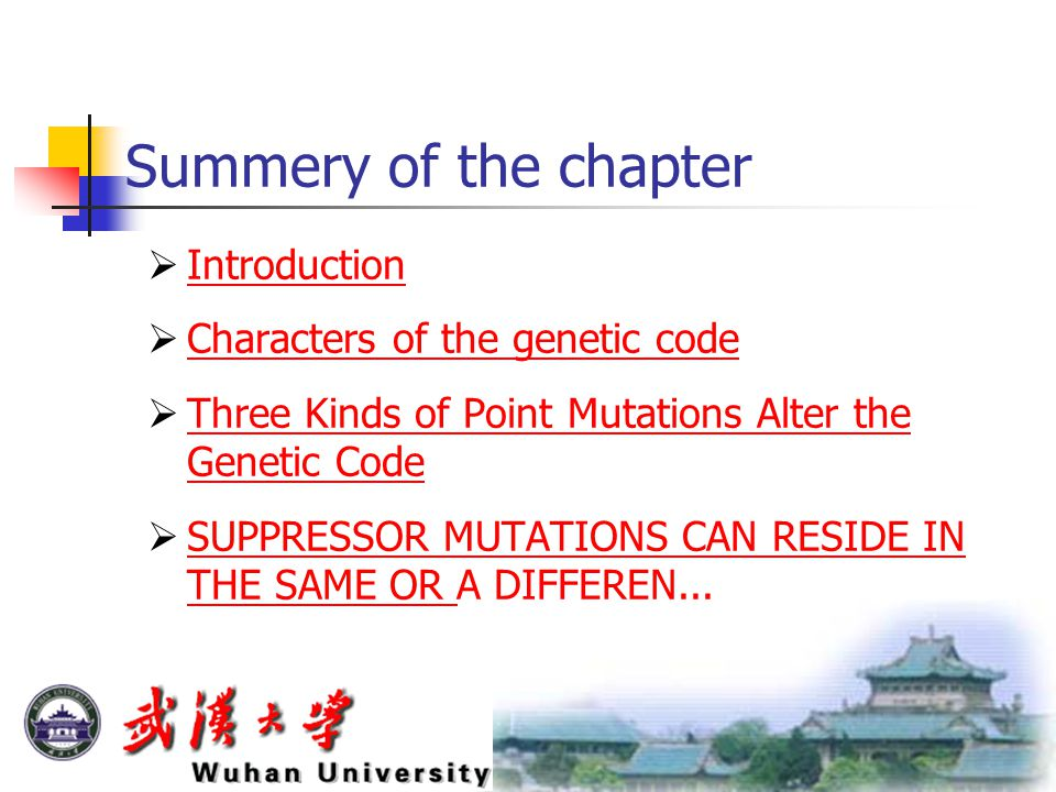 Summery of the chapter  Introduction Introduction  Characters of the genetic code Characters of the genetic code  Three Kinds of Point Mutations Al