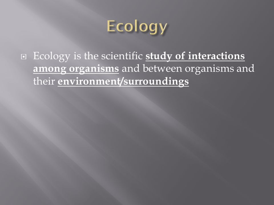  Ecology is the scientific study of interactions among organisms and between organisms and their environment/surroundings