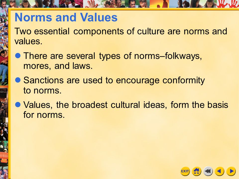 12 Chapter 16 Norms and Values Two essential components of culture are norms and values. There are several types of norms–folkways, mores, and laws. S