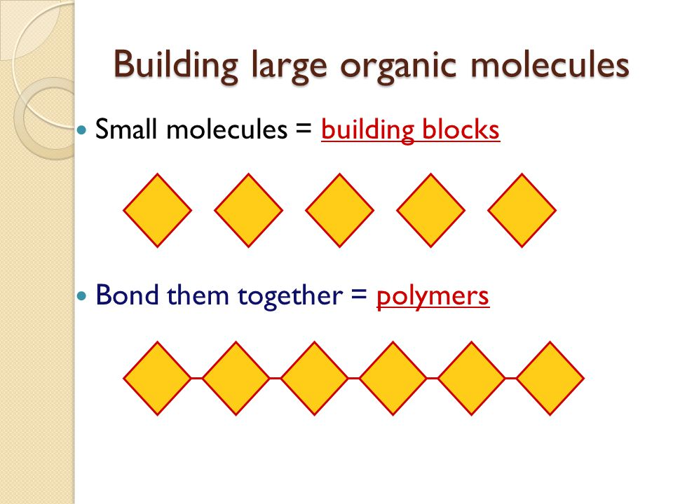 Building large molecules of life Chain together smaller molecules ◦ building block molecules = monomers Big molecules built from little molecules ◦ po