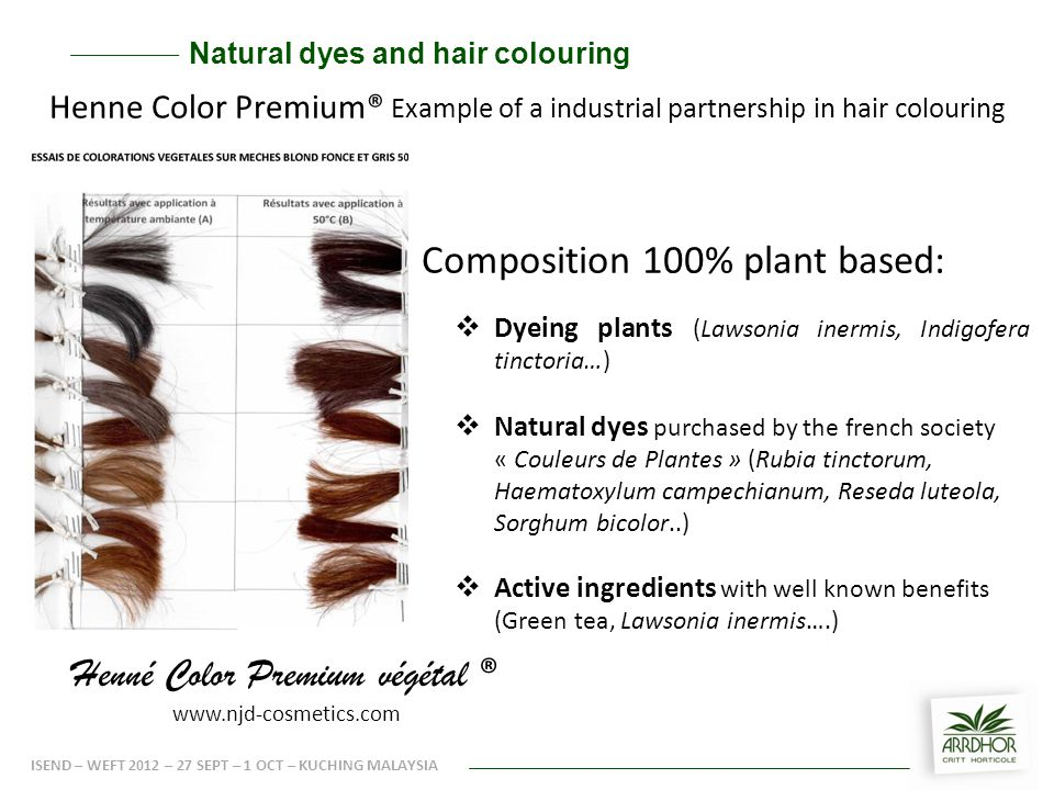  Dyeing plants (Lawsonia inermis, Indigofera tinctoria…)  Natural dyes purchased by the french society « Couleurs de Plantes » (Rubia tinctorum, Haematoxylum campechianum, Reseda luteola, Sorghum bicolor..)  Active ingredients with well known benefits (Green tea, Lawsonia inermis….) Composition 100% plant based: Henné Color Premium végétal ® www.njd-cosmetics.com Natural dyes and hair colouring ISEND – WEFT 2012 – 27 SEPT – 1 OCT – KUCHING MALAYSIA Henne Color Premium® Example of a industrial partnership in hair colouring