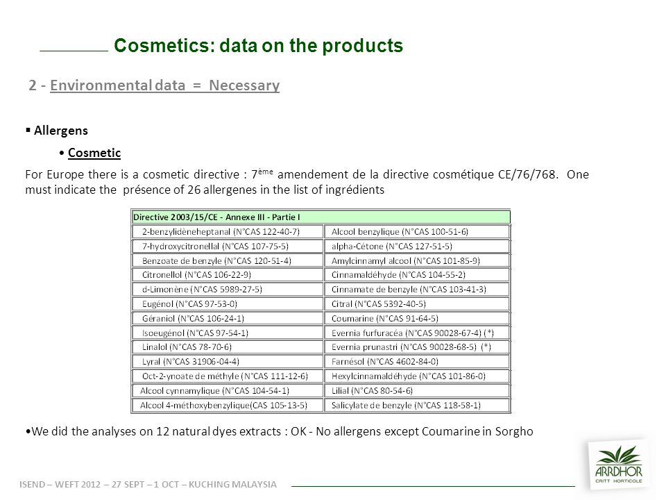 Cosmetics: data on the products 2 - Environmental data = Necessary  Allergens Cosmetic For Europe there is a cosmetic directive : 7 ème amendement de la directive cosmétique CE/76/768.