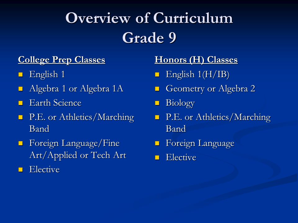 Overview of Curriculum Grade 9 College Prep Classes English 1 English 1 Algebra 1 or Algebra 1A Algebra 1 or Algebra 1A Earth Science Earth Science P.E.